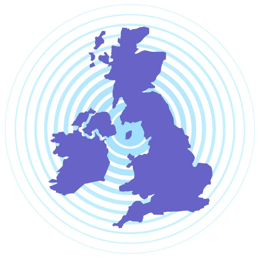 uk map with sound waves